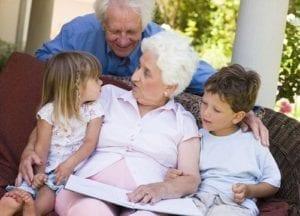 Grandparents listening to children