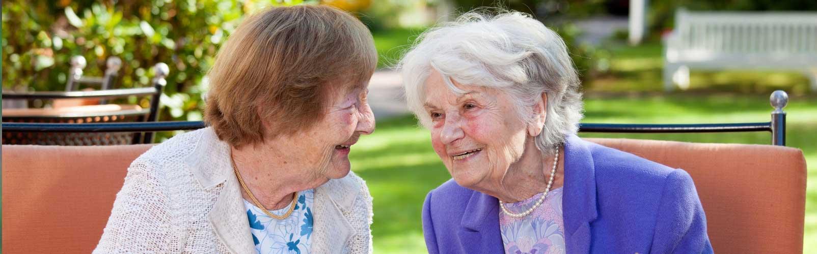 Elderly ladies having a conversation